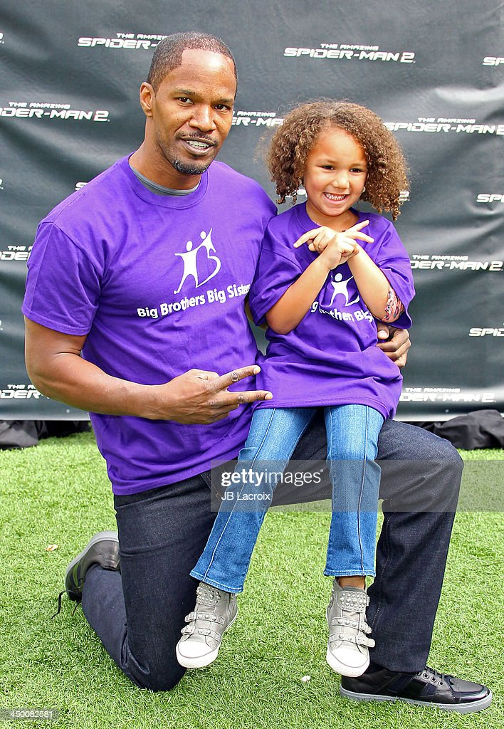 <a gi-track='captionPersonalityLinkClicked' href=/galleries/search?phrase=Jamie+Foxx&family=editorial&specificpeople=201715 ng-click='$event.stopPropagation()'>Jamie Foxx</a> and Annalise Bishop attend 'The Amazing Spiderman 2' Photo Call held at Sony Pictures Studios on November 16, 2013 in Culver City, California.