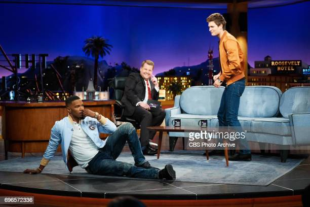 Jamie Foxx and Ansel Elgort chat with James Corden during 'The Late Late Show with James Corden' Thursday June 15 2017 On The CBS Television Network