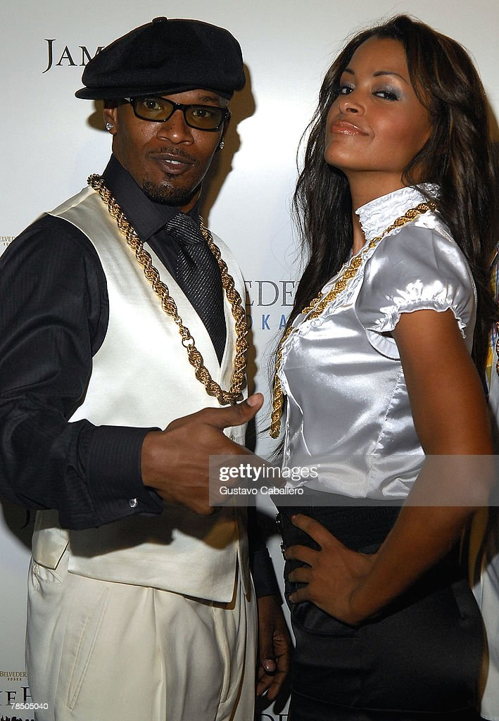 Jamie Foxx and Caludia Jordan arrive at his 40th birthday party hosted by Belvedere Vodka at The Florida Room at the Delano Hotel on December 15, 2007 in Miami Beach, Florida.