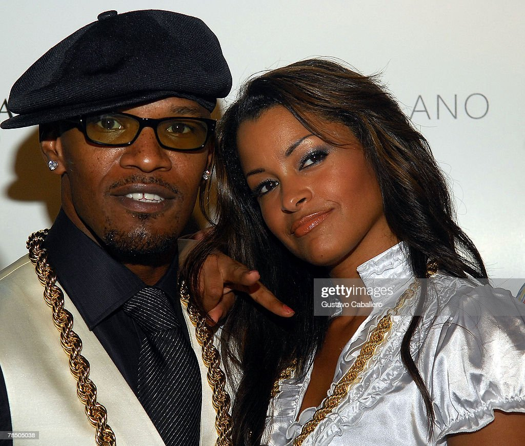 Jamie Foxx and Caludia Jordan arrives at his 40th birthday party hosted by Belvedere Vodka at The Florida Room at the Delano Hotel on December 15, 2007 in Miami Beach, Florida.