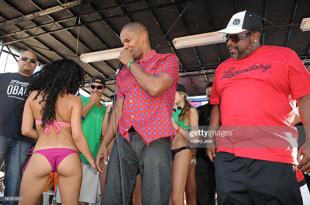 Jamie Foxx and Cedric the Entertainer is sighted at South Beach on February 9, 2013 in Miami Beach, Florida.