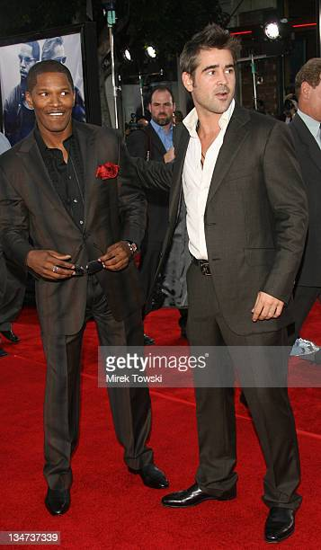 Jamie Foxx and Colin Farrell during 'Miami Vice' Los Angeles World Premiere at Mann Village Theatre in Westwood California United States