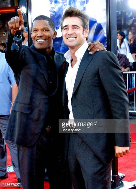 Jamie Foxx and Colin Farrell during 'Miami Vice' World Premiere Arrivals at Mann Village Westwood in Westwood California United States