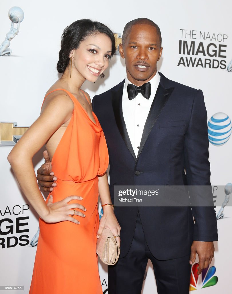 <a gi-track='captionPersonalityLinkClicked' href=/galleries/search?phrase=Jamie+Foxx&family=editorial&specificpeople=201715 ng-click='$event.stopPropagation()'>Jamie Foxx</a> (R) and Corrine Foxx arrive at the 44th NAACP Image Awards held at The Shrine Auditorium on February 1, 2013 in Los Angeles, California.