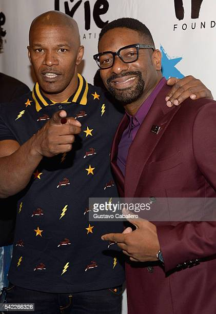 Jamie Foxx and DJ Irie arrives at Irie Foundation #InspIRIE Dinner Gala on June 22 2016 in Miami Beach Florida
