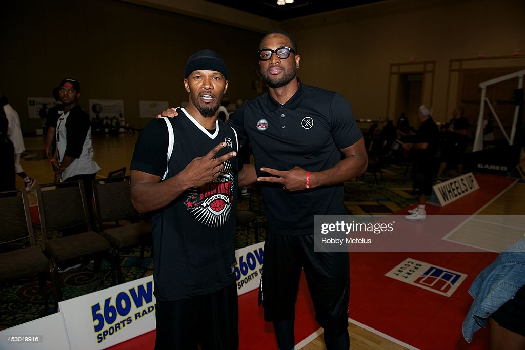 Jamie Foxx and Dwyane Wade after a game at Dwyane Wade's Fourth Annual Fantasy Basketball Camp at Westin Diplomat on August 1, 2014 in Hollywood, Florida.