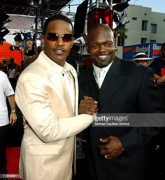 Jamie Foxx and Emmitt Smith during 2003 ESPY Awards Red Carpet at Kodak Theatre in Hollywood California United States