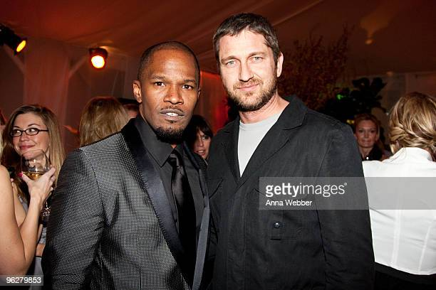 Jamie Foxx and Gerard Butler attend L'Ermitage on January 29 2010 in Los Angeles California