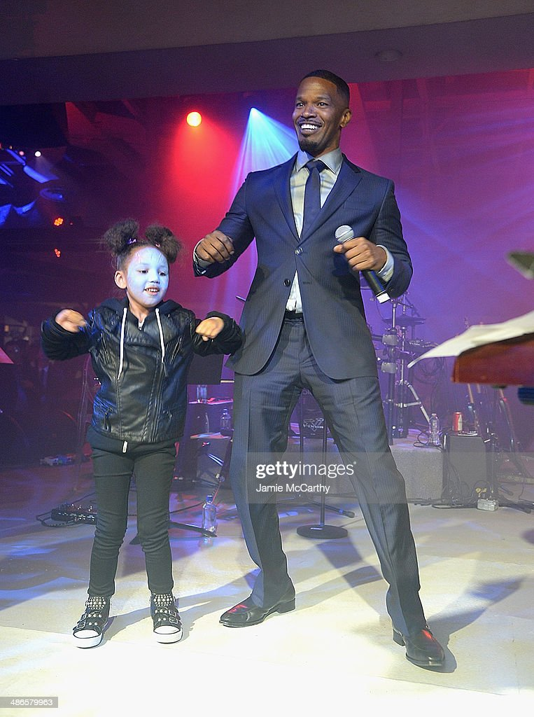 <a gi-track='captionPersonalityLinkClicked' href=/galleries/search?phrase=Jamie+Foxx&family=editorial&specificpeople=201715 ng-click='$event.stopPropagation()'>Jamie Foxx</a> (R) and his daughter Annalise dance on stage at the after party for 'The Amazing Spider-Man 2' premiere at Skylight at Moynihan Station on April 24, 2014 in New York City.
