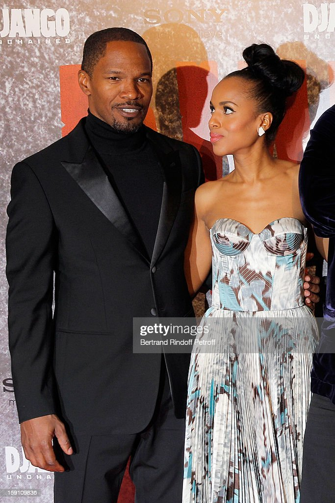 <a gi-track='captionPersonalityLinkClicked' href=/galleries/search?phrase=Jamie+Foxx&family=editorial&specificpeople=201715 ng-click='$event.stopPropagation()'>Jamie Foxx</a> and <a gi-track='captionPersonalityLinkClicked' href=/galleries/search?phrase=Kerry+Washington&family=editorial&specificpeople=201534 ng-click='$event.stopPropagation()'>Kerry Washington</a> attend a photocall for 'Django Unchained' at Le Grand Rex on January 7, 2013 in Paris, France.