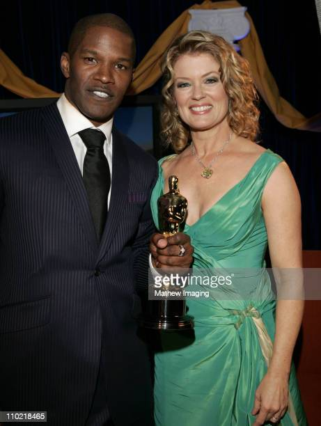 Jamie Foxx and Mary Hart during The 77th Annual Academy Awards Behind The Scenes at Kodak Theatre in Los Angeles California United States