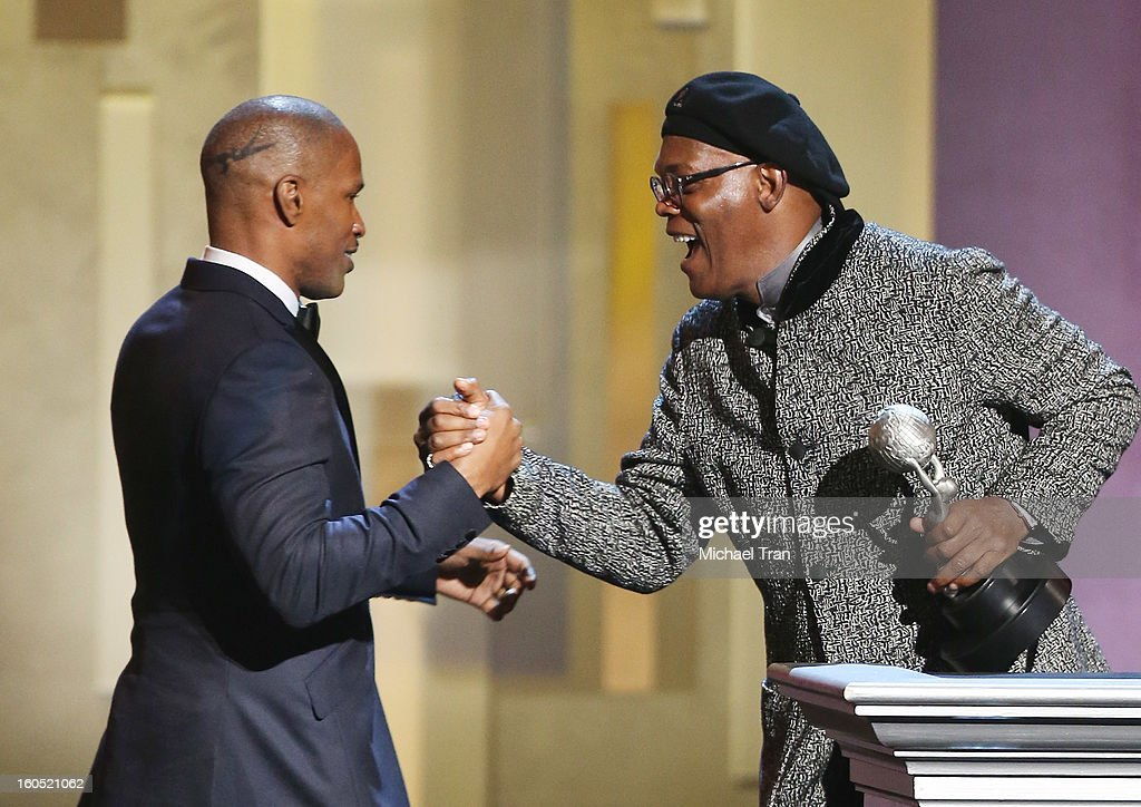 Jamie Foxx (L) and Samuel L. Jackson attend the 44th NAACP Image Awards - show held at The Shrine Auditorium on February 1, 2013 in Los Angeles, California.