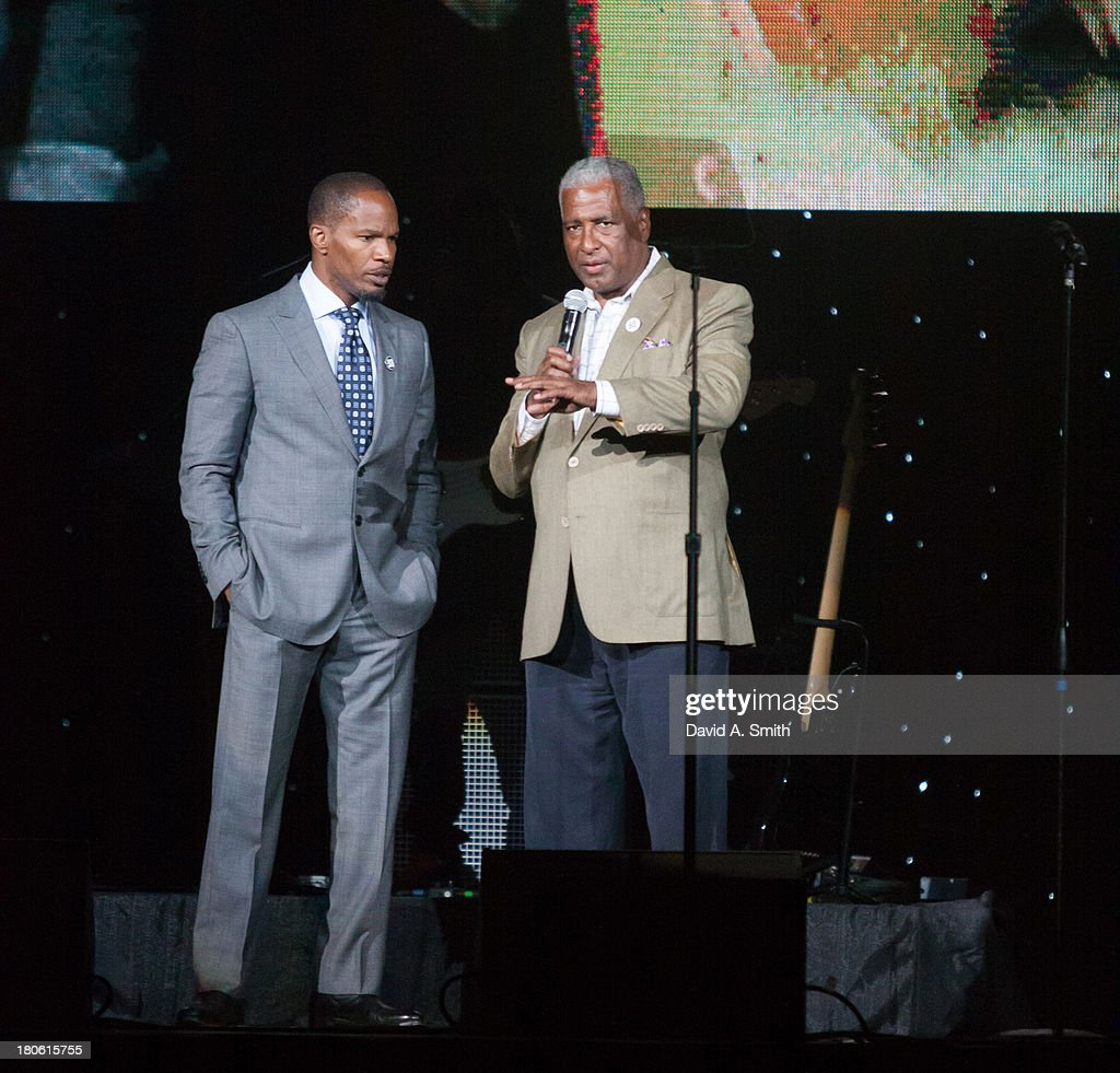 <a gi-track='captionPersonalityLinkClicked' href=/galleries/search?phrase=Jamie+Foxx&family=editorial&specificpeople=201715 ng-click='$event.stopPropagation()'>Jamie Foxx</a> and William Bell attend BBVA Compass Concert For Human Rights Hosted By <a gi-track='captionPersonalityLinkClicked' href=/galleries/search?phrase=Jamie+Foxx&family=editorial&specificpeople=201715 ng-click='$event.stopPropagation()'>Jamie Foxx</a> at The Birmingham Jefferson Convention Center on September 14, 2013 in Birmingham, Alabama.