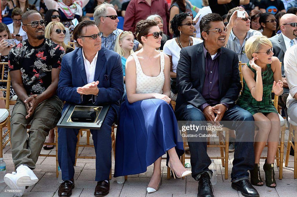 Jamie Foxx, Andy Garcia,Anne Hathaway,George Lopez and Kristin Chenoweth attends Miami Walk Of Fame Inauguration at Bayside Marketplace on March 21, 2014 in Miami, Florida.