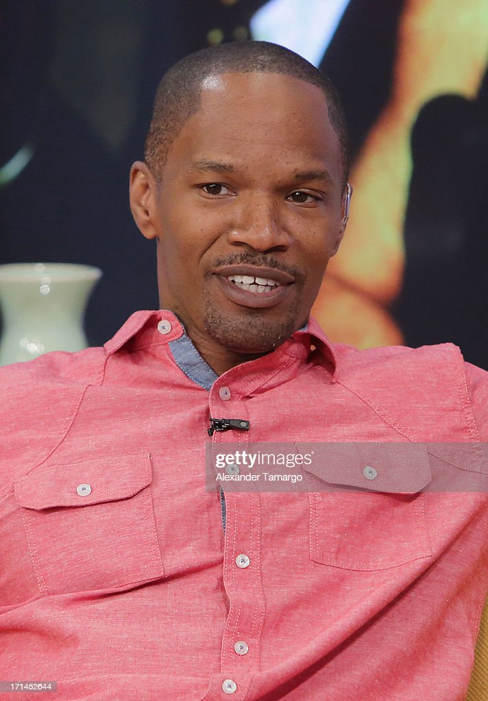 <a gi-track='captionPersonalityLinkClicked' href=/galleries/search?phrase=Jamie+Foxx&family=editorial&specificpeople=201715 ng-click='$event.stopPropagation()'>Jamie Foxx</a> appears on Univision's 'Despierta America' to promote film 'White House Down' at Univision Headquarters on June 24, 2013 in Miami, Florida.