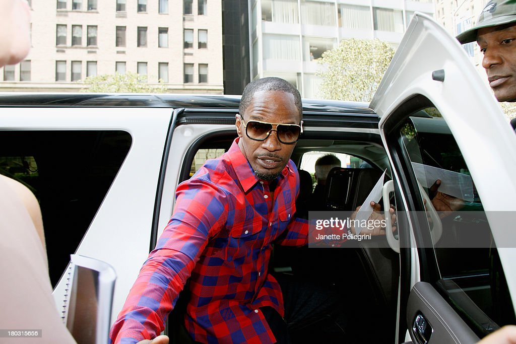 <a gi-track='captionPersonalityLinkClicked' href=/galleries/search?phrase=Jamie+Foxx&family=editorial&specificpeople=201715 ng-click='$event.stopPropagation()'>Jamie Foxx</a> arrives at the Annual Charity Day Hosted By Cantor Fitzgerald And BGC at the Cantor Fitzgerald Office on September 11, 2013 in New York, United States.