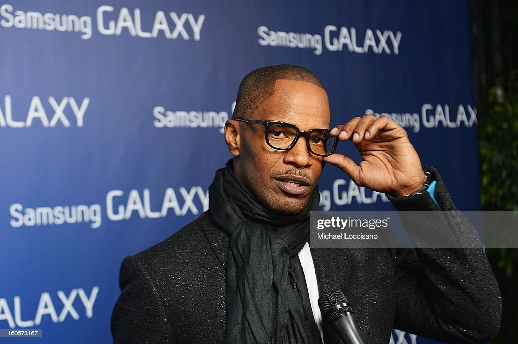 """Jamie Foxx at the Samsung Galaxy """"Shangri-La"""" Party on February 2, 2013 in New Orleans, Louisiana."""