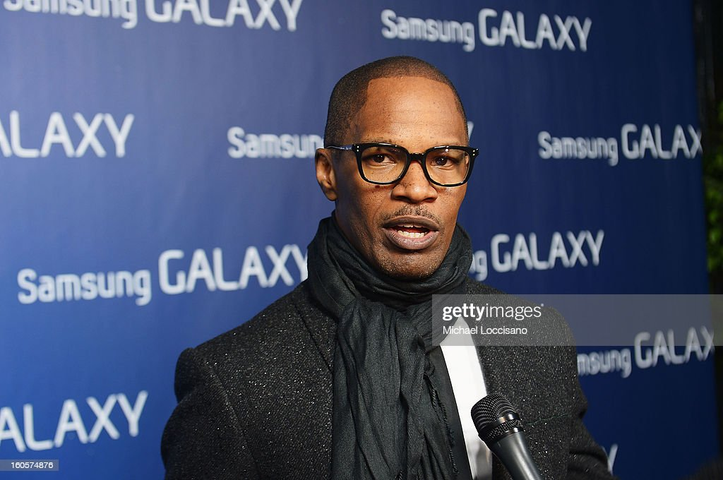 "<a gi-track='captionPersonalityLinkClicked' href=/galleries/search?phrase=Jamie+Foxx&family=editorial&specificpeople=201715 ng-click='$event.stopPropagation()'>Jamie Foxx</a> at the Samsung Galaxy ""Shangri-La"" Party on February 2, 2013 in New Orleans, Louisiana."