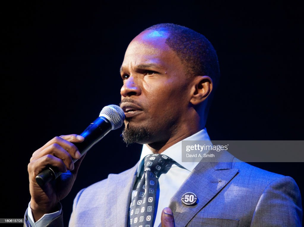 <a gi-track='captionPersonalityLinkClicked' href=/galleries/search?phrase=Jamie+Foxx&family=editorial&specificpeople=201715 ng-click='$event.stopPropagation()'>Jamie Foxx</a> attends BBVA Compass Concert For Human Rights hosted by <a gi-track='captionPersonalityLinkClicked' href=/galleries/search?phrase=Jamie+Foxx&family=editorial&specificpeople=201715 ng-click='$event.stopPropagation()'>Jamie Foxx</a> at The Birmingham Jefferson Convention Center on September 14, 2013 in Birmingham, Alabama.