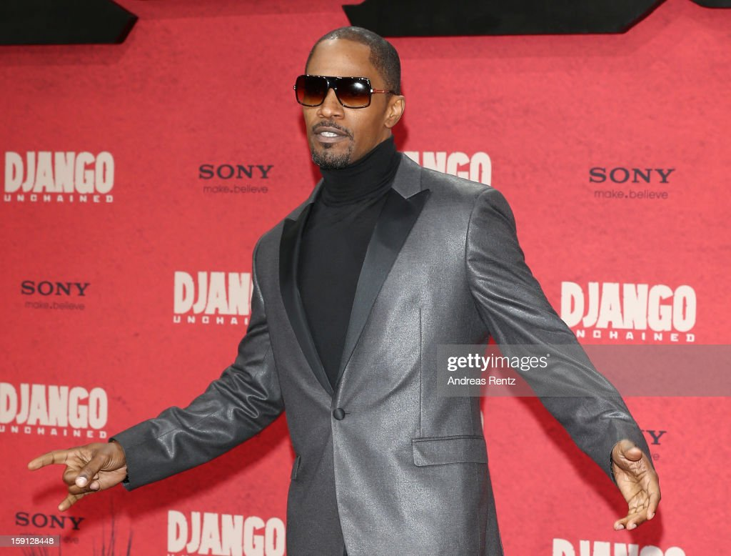 <a gi-track='captionPersonalityLinkClicked' href=/galleries/search?phrase=Jamie+Foxx&family=editorial&specificpeople=201715 ng-click='$event.stopPropagation()'>Jamie Foxx</a> attends 'Django Unchained' Berlin Premiere at Cinestar Potsdamer Platz on January 8, 2013 in Berlin, Germany.
