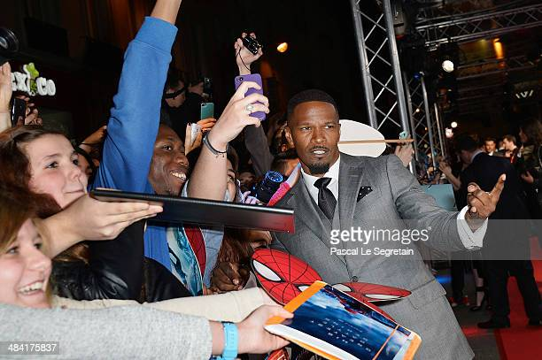 Jamie Foxx attends 'The Amazing SpiderMan 2' Paris Premiere at Le Grand Rex on April 11 2014 in Paris France