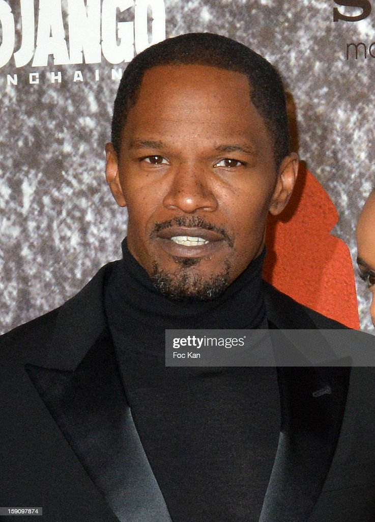 <a gi-track='captionPersonalityLinkClicked' href=/galleries/search?phrase=Jamie+Foxx&family=editorial&specificpeople=201715 ng-click='$event.stopPropagation()'>Jamie Foxx</a> attends the 'Django Unchained' Paris premiere red carpet arrival at Le Grand Rex on January 7, 2013 in Paris, France.