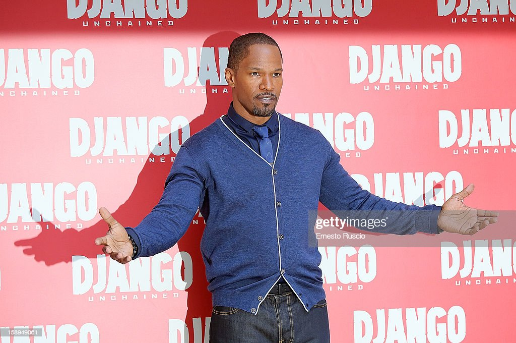 <a gi-track='captionPersonalityLinkClicked' href=/galleries/search?phrase=Jamie+Foxx&family=editorial&specificpeople=201715 ng-click='$event.stopPropagation()'>Jamie Foxx</a> attends the 'Django Unchained' photocall at the Hassler Hotel on January 4, 2013 in Rome, Italy.