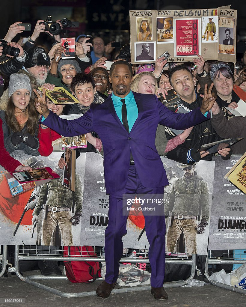 <a gi-track='captionPersonalityLinkClicked' href=/galleries/search?phrase=Jamie+Foxx&family=editorial&specificpeople=201715 ng-click='$event.stopPropagation()'>Jamie Foxx</a> attends the UK premiere of 'Django Unchained' at Empire Leicester Square on January 10, 2013 in London, England.