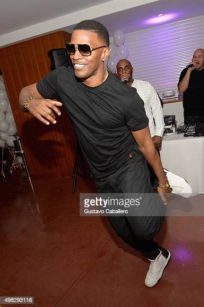 Jamie Foxx breaks it down on the dance floor at Haute Living celebrates Loren Ridinger's birthday at Cipriani Downtown Miami on November 21 2015 in...