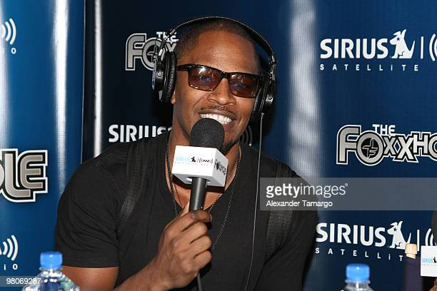 Jamie Foxx Brings his Sirius XM Foxxhole Radio to Super Bowl weekend at the Doubletree Surfcomber Hotel South Beach on February 5 2010 in Miami Beach...