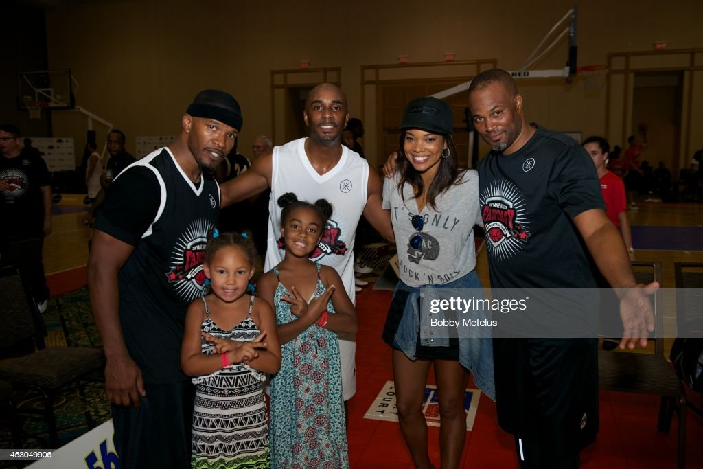Jamie Foxx, Camper, Gabrielle Union and Chris Spencer during Dwyane Wade's Fourth Annual Fantasy Basketball Camp at Westin Diplomat on August 1, 2014 in Hollywood, Florida.