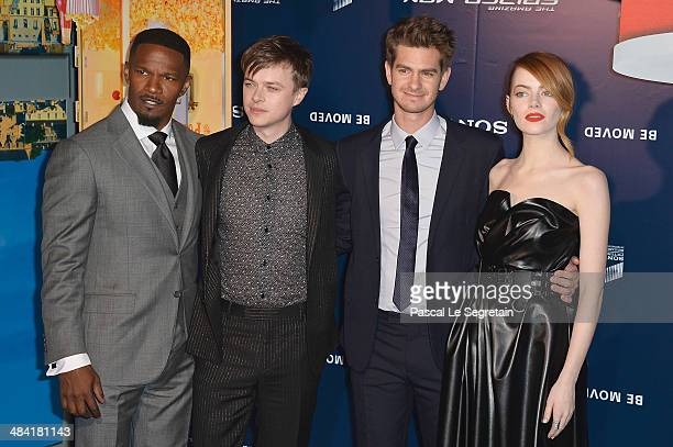 Jamie Foxx Dane DeHaan Andrew Garfield and Emma Stone attend 'The Amazing SpiderMan 2' Paris Premiere at Le Grand Rex on April 11 2014 in Paris France