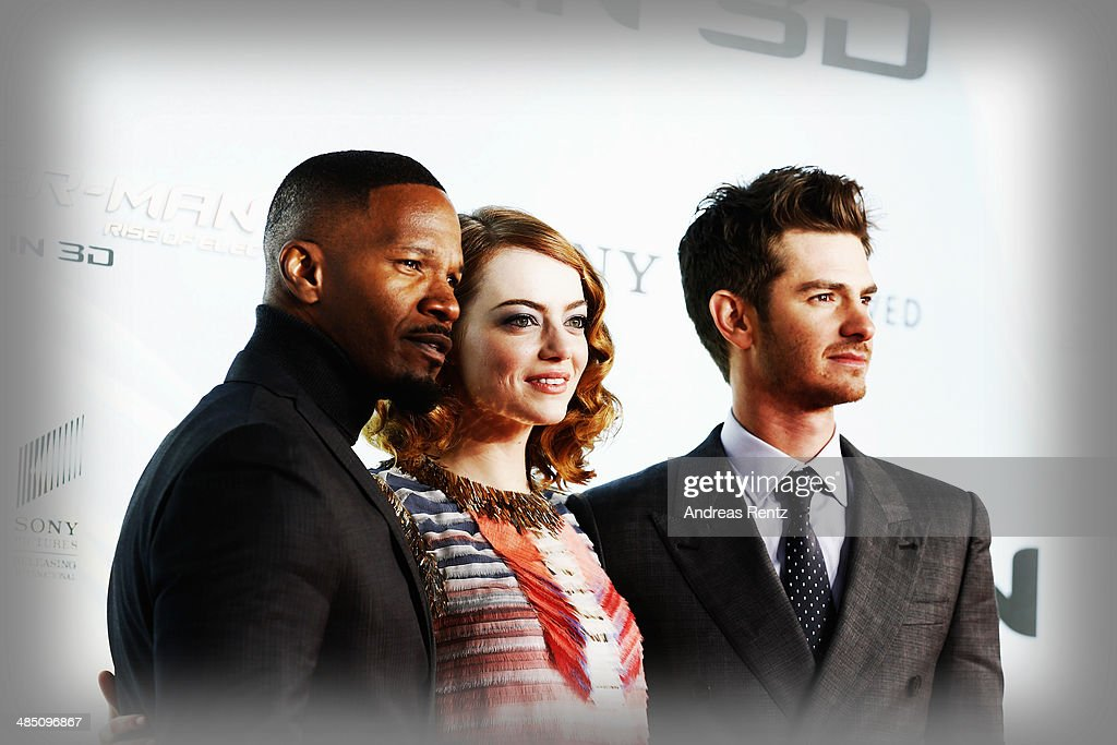 <a gi-track='captionPersonalityLinkClicked' href=/galleries/search?phrase=Jamie+Foxx&family=editorial&specificpeople=201715 ng-click='$event.stopPropagation()'>Jamie Foxx</a>, <a gi-track='captionPersonalityLinkClicked' href=/galleries/search?phrase=Emma+Stone&family=editorial&specificpeople=672023 ng-click='$event.stopPropagation()'>Emma Stone</a> and <a gi-track='captionPersonalityLinkClicked' href=/galleries/search?phrase=Andrew+Garfield&family=editorial&specificpeople=4047840 ng-click='$event.stopPropagation()'>Andrew Garfield</a> attend the 'The Amazing Spider-Man 2: Rise Of Electro' Berlin Premiere at CineStar on April 15, 2014 in Berlin, Germany.