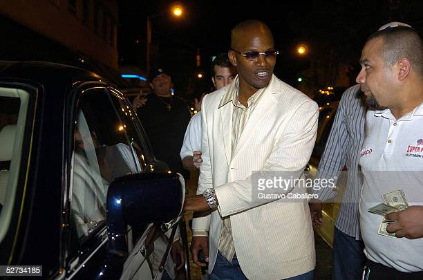 Jamie Foxx gets his car from a valet in South Beach on April 29 2005 in Miami Beach Florida