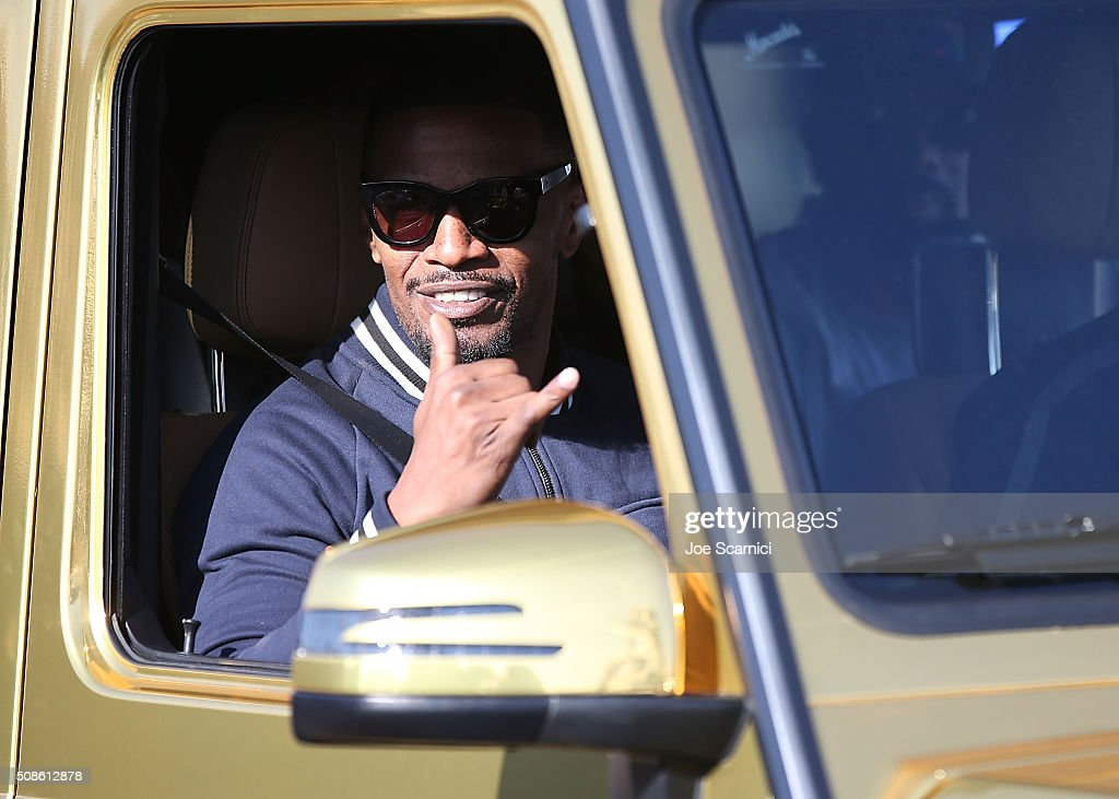 Jamie Foxx Goes for a spin in the Special Edition Mercedes-Benz G550 In Celebration Of Super Bowl 50 on February 5, 2016 in San Francisco, California.