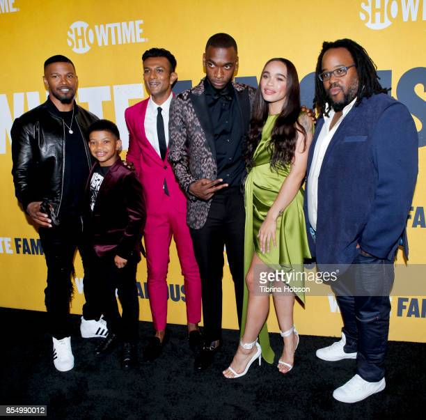 Jamie Foxx Lonnie Chavis Utkarsh Ambudkar Jay Pharoah Cleopatra Coleman and Jacob MingTrent attend the premiere of Showtime's 'White Famous' at The...