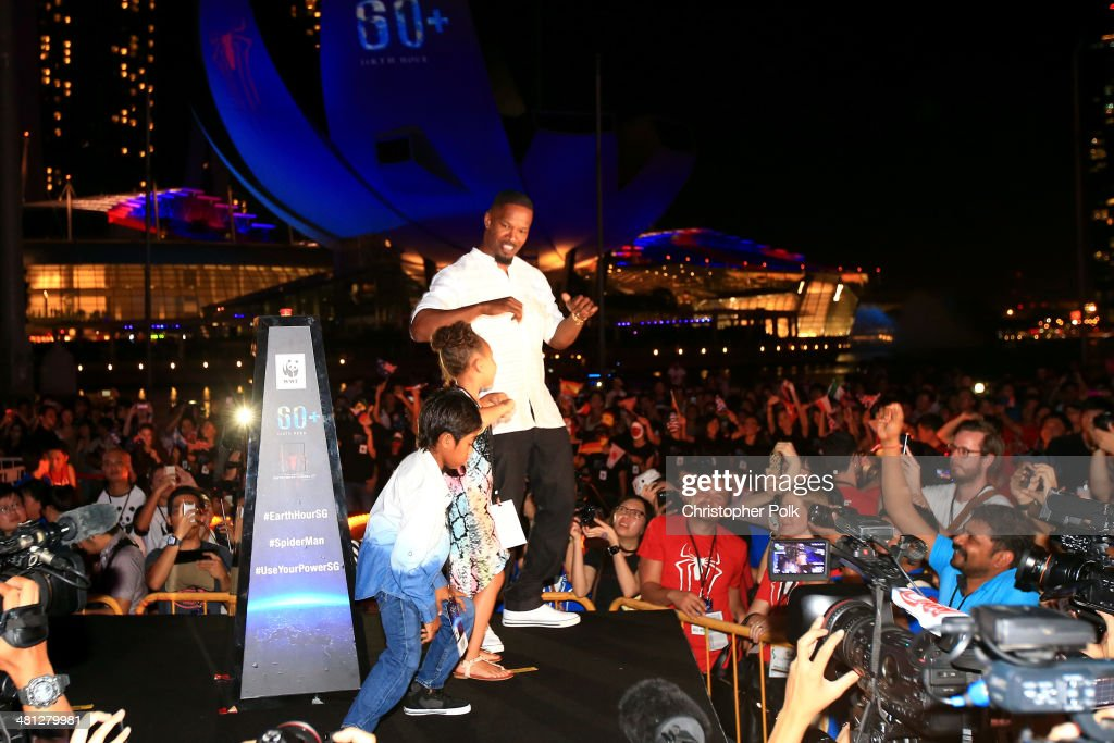 <a gi-track='captionPersonalityLinkClicked' href=/galleries/search?phrase=Jamie+Foxx&family=editorial&specificpeople=201715 ng-click='$event.stopPropagation()'>Jamie Foxx</a> of 'The Amazing Spider-Man 2' attends the Earth Hour Kick-Off with Spider-Man, The First Super Hero Ambassador for Earth Hour, the global movement organized By WWF (World Wide Fund For Nature) on March 29, 2014 in Singapore. #spiderman