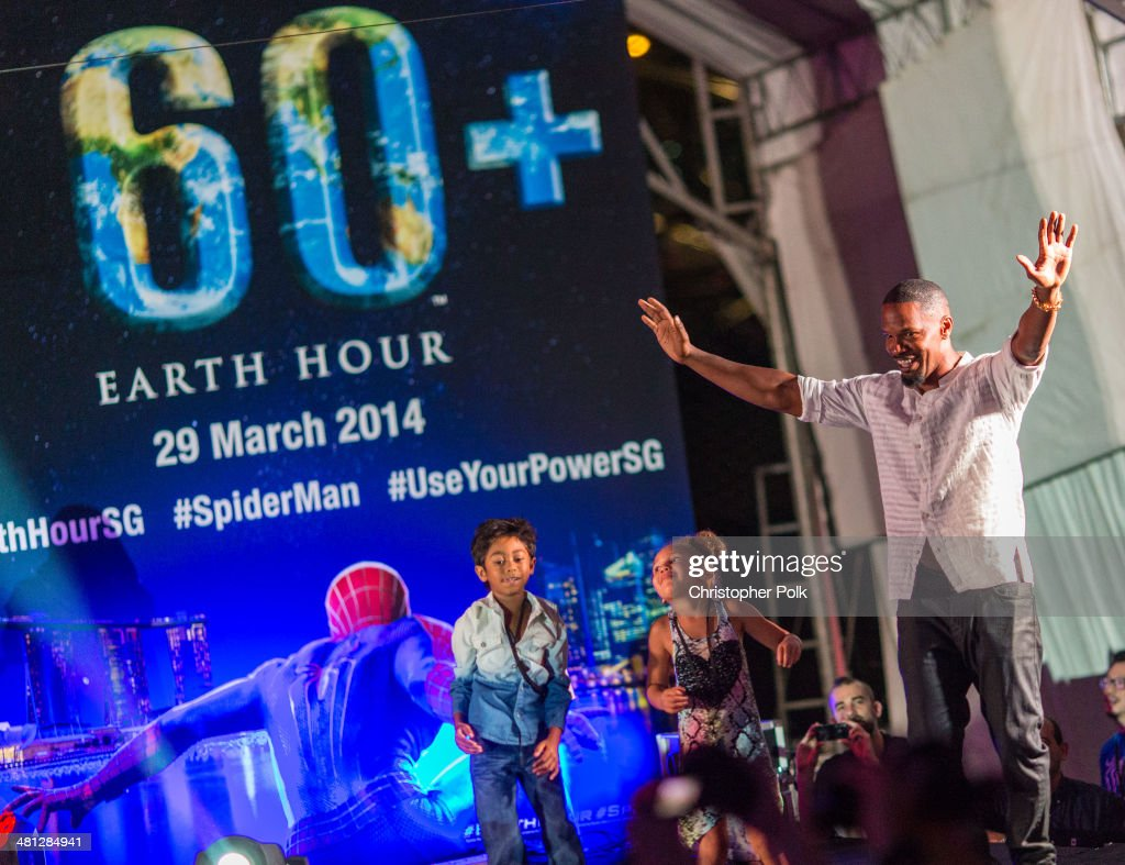 Jamie Foxx of 'The Amazing Spider-Man 2' poses for a photo at the Earth Hour Kick-Off with Spider-Man, The First Super Hero Ambassador for Earth Hour, the global movement organized By WWF (World Wide Fund For Nature) on March 29, 2014 in Singapore. #spiderman