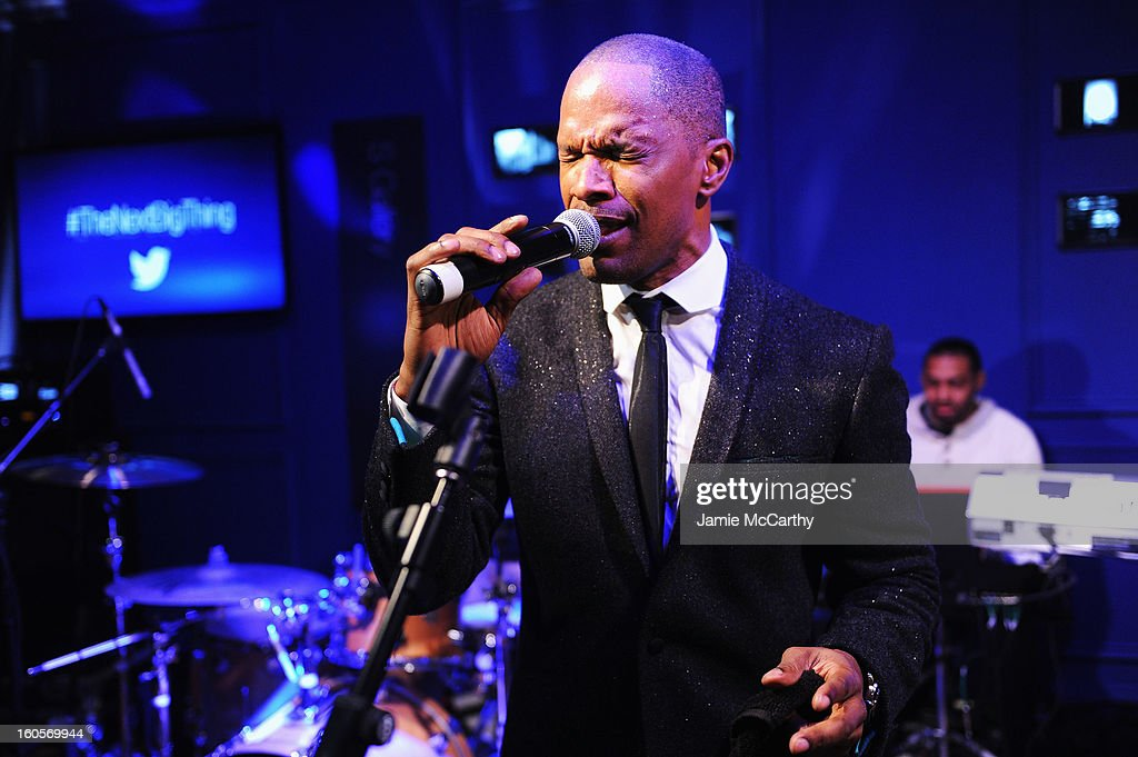 "<a gi-track='captionPersonalityLinkClicked' href=/galleries/search?phrase=Jamie+Foxx&family=editorial&specificpeople=201715 ng-click='$event.stopPropagation()'>Jamie Foxx</a> performs at the Samsung Galaxy ""Shangri-La"" Party in the Big Easy with the New Orleans Preservation Hall Jazz Band on February 2, 2013 in New Orleans, Louisiana."