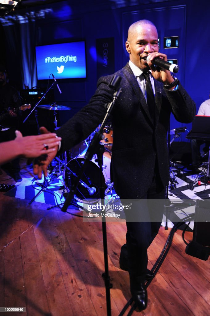 """Jamie Foxx performs at the Samsung Galaxy """"Shangri-La"""" Party in the Big Easy with the New Orleans Preservation Hall Jazz Band on February 2, 2013 in New Orleans, Louisiana."""