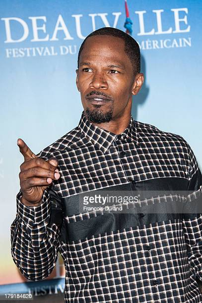 Jamie Foxx poses during a photocall for the film 'White House Down' during the 39th Deauville American film festival on September 1 2013 in Deauville...