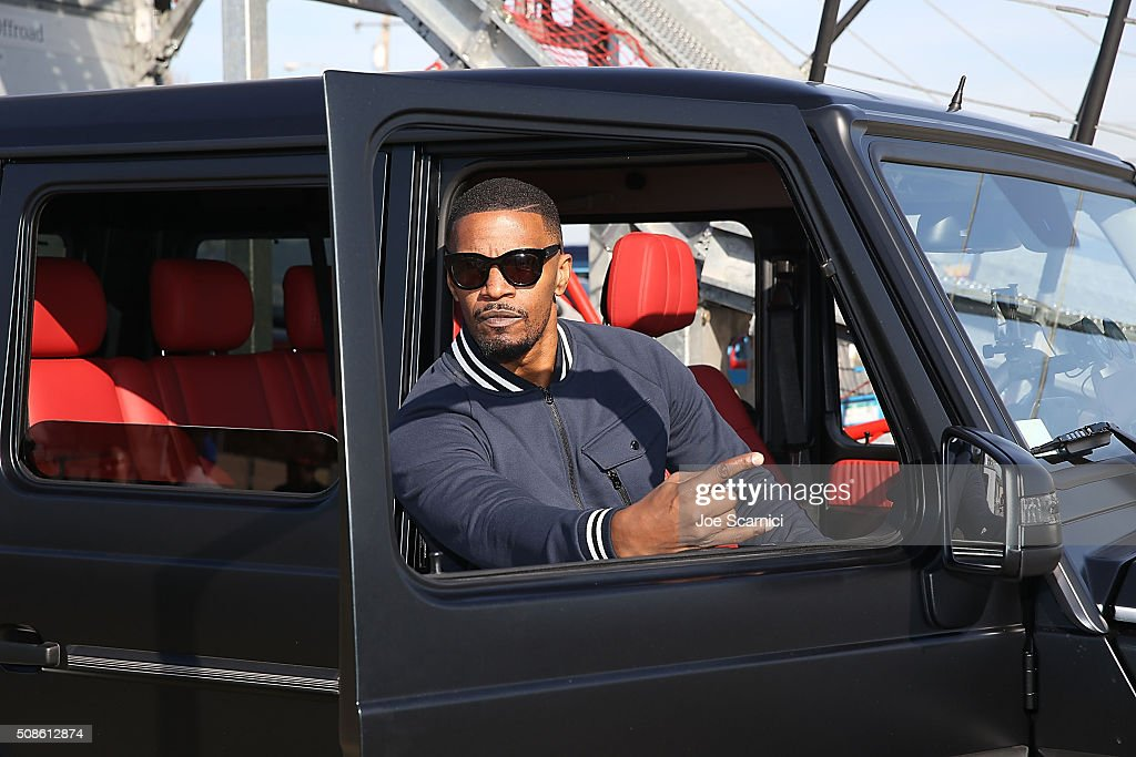<a gi-track='captionPersonalityLinkClicked' href=/galleries/search?phrase=Jamie+Foxx&family=editorial&specificpeople=201715 ng-click='$event.stopPropagation()'>Jamie Foxx</a> poses for a photo in the Special Edition Mercedes-Benz G550 In Celebration Of Super Bowl 50 on February 5, 2016 in San Francisco, California.