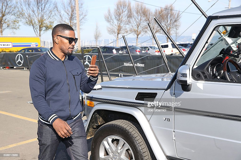 Jamie Foxx poses for a photo in the Special Edition Mercedes-Benz G550 In Celebration Of Super Bowl 50 on February 5, 2016 in San Francisco, California.