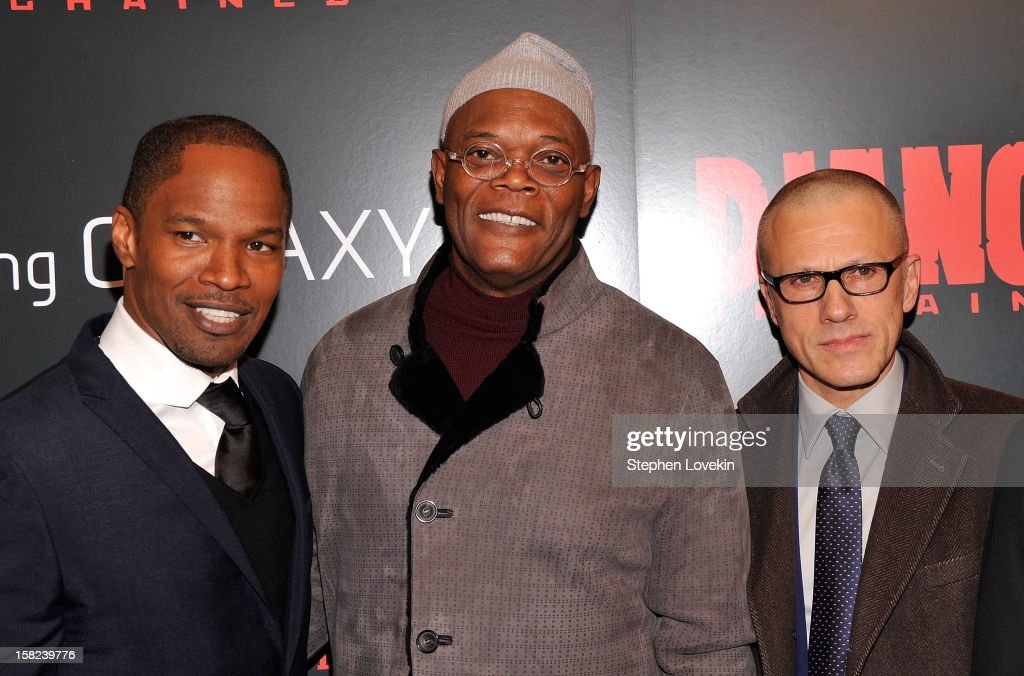 <a gi-track='captionPersonalityLinkClicked' href=/galleries/search?phrase=Jamie+Foxx&family=editorial&specificpeople=201715 ng-click='$event.stopPropagation()'>Jamie Foxx</a>, <a gi-track='captionPersonalityLinkClicked' href=/galleries/search?phrase=Samuel+L.+Jackson&family=editorial&specificpeople=167234 ng-click='$event.stopPropagation()'>Samuel L. Jackson</a>, and <a gi-track='captionPersonalityLinkClicked' href=/galleries/search?phrase=Christoph+Waltz&family=editorial&specificpeople=4276914 ng-click='$event.stopPropagation()'>Christoph Waltz</a> attend a screening of 'Django Unchained' hosted by The Weinstein Company with The Hollywood Reporter, Samsung Galaxy and The Cinema Society at Ziegfeld Theater on December 11, 2012 in New York City.