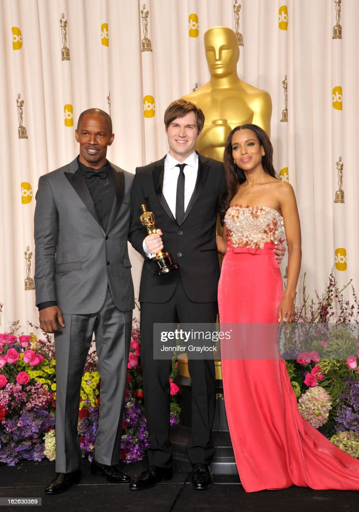 Jamie Foxx, Shawn Christensen and Kerry Washington arrive to the 85th Annual Academy Awards Press Room held at Hollywood & Highland Center on February 24, 2013 in Hollywood, California.