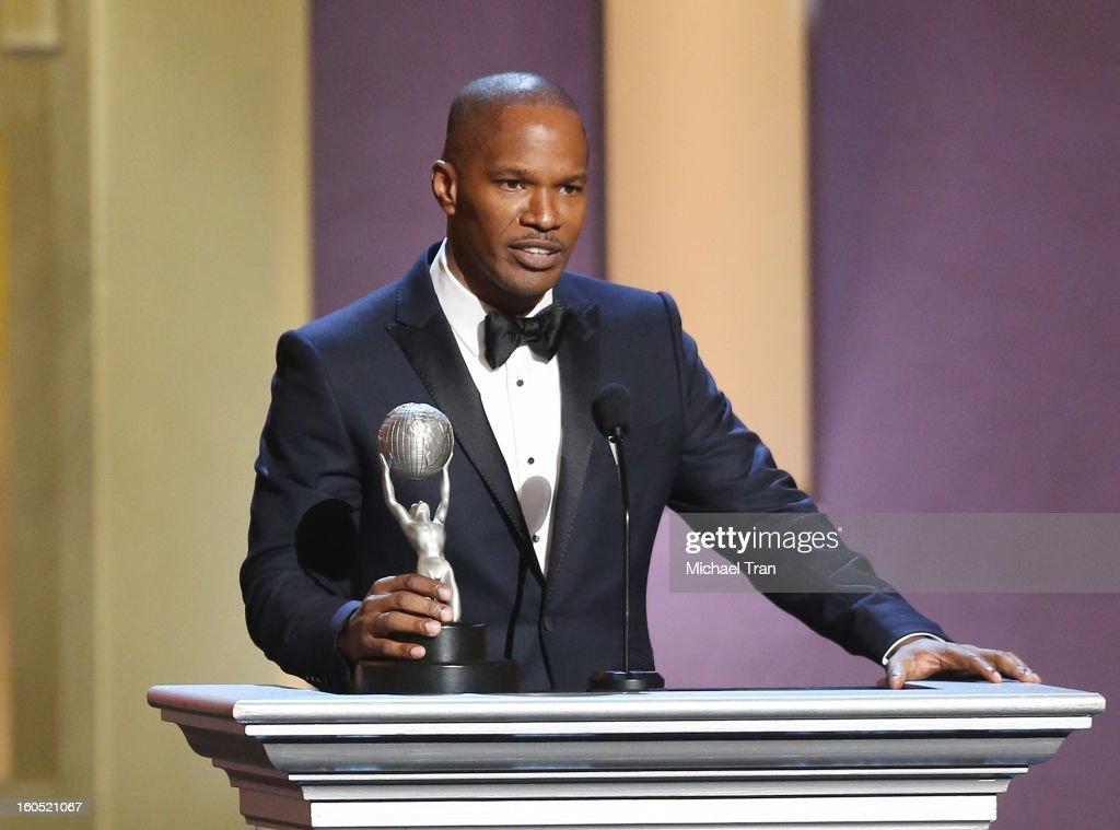 <a gi-track='captionPersonalityLinkClicked' href=/galleries/search?phrase=Jamie+Foxx&family=editorial&specificpeople=201715 ng-click='$event.stopPropagation()'>Jamie Foxx</a> speaks at the 44th NAACP Image Awards - show held at The Shrine Auditorium on February 1, 2013 in Los Angeles, California.