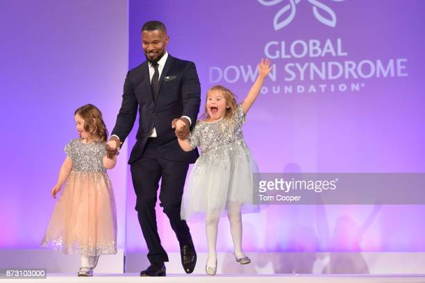 Jamie Foxx walks the red carpet with Kate Winfield and Kate Vecchiet at the Global Down Syndrome Foundation's 9th annual Be Beautiful Be Yourself...