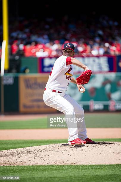 Jamie Garcia of the St Louis Cardinals pitches during the game against the Atlanta Braves at Busch Stadium on May 18 2014 in St Louis Missouri