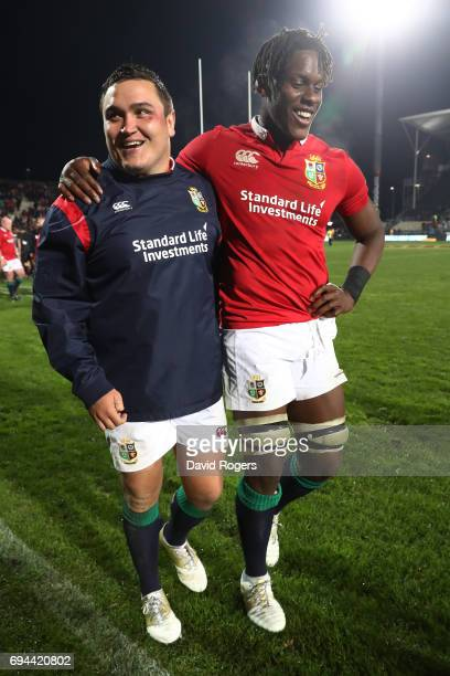 Jamie George and Maro Itoje of the Lions celebrate following their team's 123 victory during the 2017 British Irish Lions tour match between the...