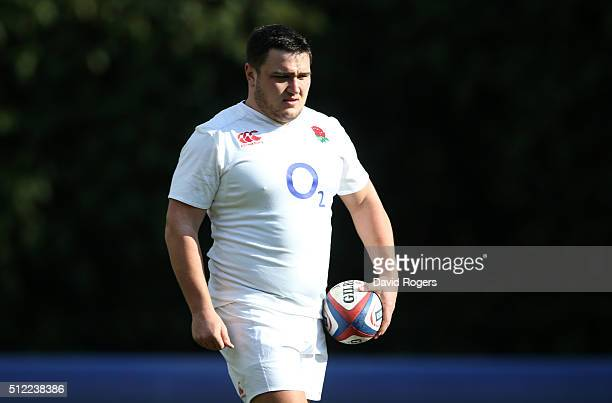 Jamie George looks on during the England training session held at Pennyhill Park on February 25 2016 in Bagshot England